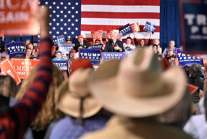 Gov. Mike Pence speaks to the crowd during a rally Wednesday, Nov. 2, 2016, at the Ranch in Loveland. (Photo by Jenny Sparks/Loveland Reporter-Herald)