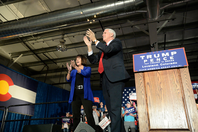 Gov. Mike Pence and his wife, Karen, greet the crowd Wednesday, Nov. 2, 2016, during a rally at the Ranch in Loveland. (Photo by Jenny Sparks/Loveland Repdorter-Herald)