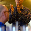 Gov. Bruce Rauner speaks while Steve Wheeler of Trilla listens at Karla's Down Home Diner in Greenup Wednesday afternoon.<br /> Keith Stewart Photo