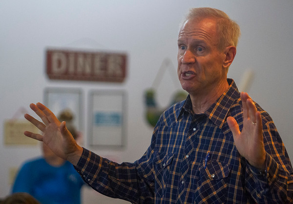 Gov. Bruce Rauner speaks during a campaign stop Wednesday at Karla's Down Home Diner in Greenup. Keith Stewart Photo