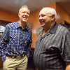 Gov. Bruce Rauner, left, is greeted by Cumberland County GOP Chairman Phil Sherwood Wednesday afternoon at Karla's Down Home Diner in Greenup.<br /> Keith Stewart Photo