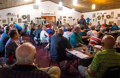 Local officials and members of the private sector listen to Gov. Bruce Rauner speak at Karla's Down Home Diner in Greenup Wednesday afternoon. Keith Stewart Photo