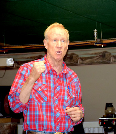Gov. Bruce Rauner speaks passionately about his hope to rid of corruption in Chicago if he is re-elected for another term, during his stop in Shelbyville Tuesday morning at the Farmhouse Restaurant. Kennedy Nolen Photo