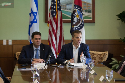 Govenor Eric Greitens and Israel Ambassador to the U.S. Ron Dermer participating in a round table discussion about Missouri and Israel's friendship and economic  partnership and Tour Danforth Science Center 8-15-2017