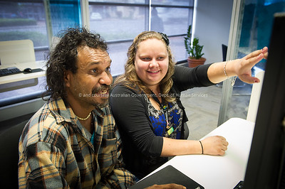 DHS staff member Talitha Warrick and customer Lance Hart at the DHS Offices in Mossman, Queensland