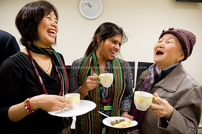 L to R Translators Rual Tin Thangi Dal, with Multicultural Services Officer Maria De Monte and translator Lydia Tam Lawah enjoy morning tea after the Burmese Cultural display during Refugee Week.