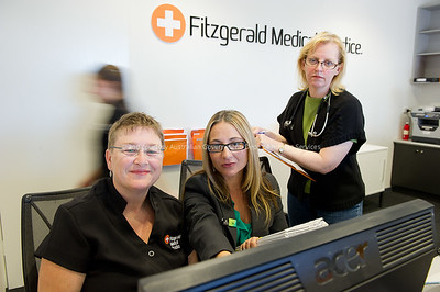 Business Development Officer Ida Slabak working with the Fitzgerald Practice Manager Tracey Hockey setting the practice up to offer various electronic services to their patients