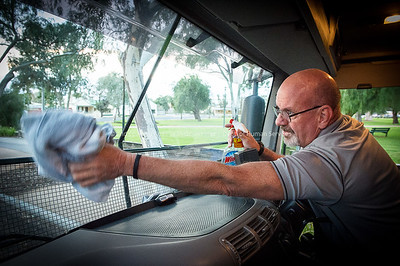 DHS Staff prepare the Mobile Office for the early morning drive from Broken Hill to Menindee, NSW