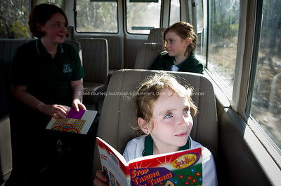 Students on the bus to school, Coolah District, NSW
