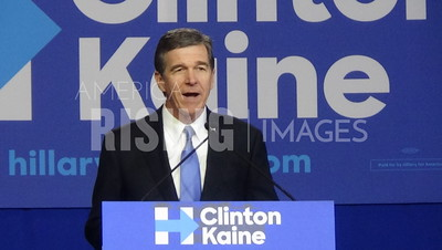 Roy Cooper At Hillary Clinton Campaign Rally In Charlotte, NC