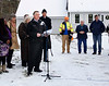 HOLLY PELCZYNSKI - BENNINGTON BANNER Governor Phil Scott stands with his delegates to announce the newly constructed waterline extension built to address Bennington's PFOA contamination. The extension will be providing the first phase of homes with clean, reliable drinking water.
