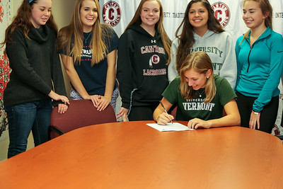 Grace Giancola readies to sign her letter of intent to play lacrosse for UVM.  Photo by John Fitts