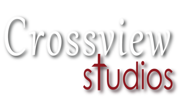 CrossView Studios - Logo 01 with drop LG White
