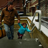 Grace's father brings Grace to Tufts Educational Day Care Center on a recent weekday morning. <br /> .