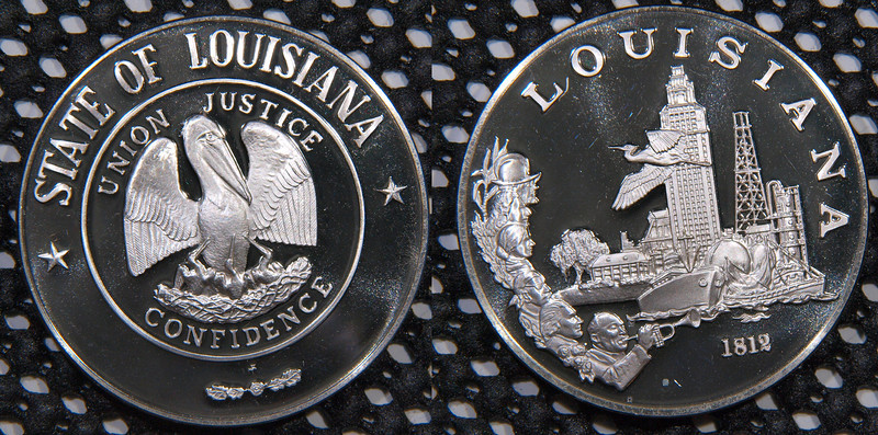 State of Louisiana - The Franklin Mint's Statehood collection. <br /> 1 troy ounce of silver, in the 92.5% silver concentration that is sterling.<br /> rare coin<br /> $48<br /> <br /> contact me at leo78256@yahoo.com