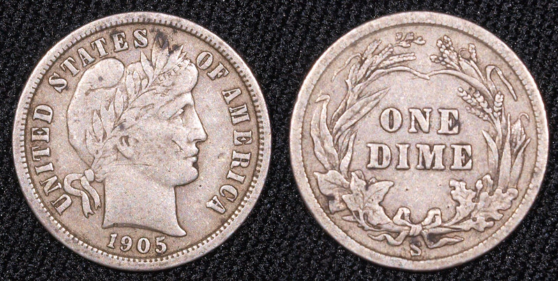 1905-S  Barber dime $16<br /> VF, prob<br /> <br /> contact me at leo78256@yahoo.com