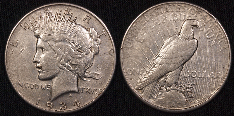 1934 D Peace Dollar<br /> a semi key-ish date,  nice coin <br /> prob VF to XG<br /> <br /> $40<br /> contact me at leo78256@yahoo.com