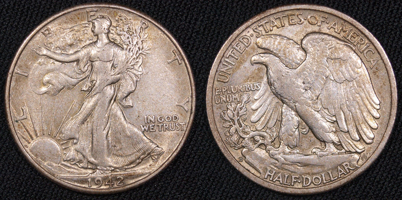 1942-D Walking Liberty Half  $18<br /> very nice, clean coin<br /> <br /> contact me at leo78256@yahoo.com
