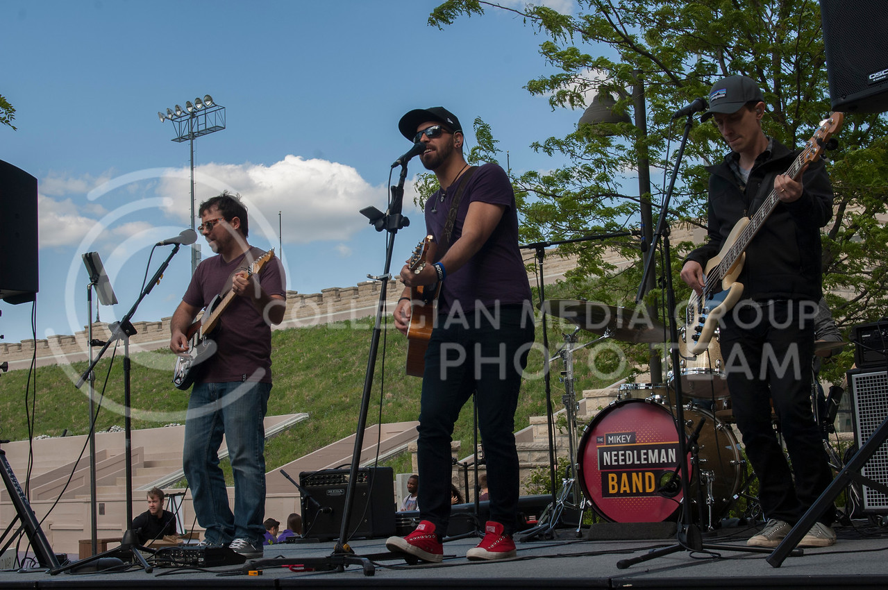 The Mikey Needleman Band plays during Grab Bash at the KSU Alumni Association in Manhattan, KS on May 4, 2017. Grab Bash is a celebration to bid farewell to graduating students that includes food, drinks, and live music. (Justin Wright | The Collegian)