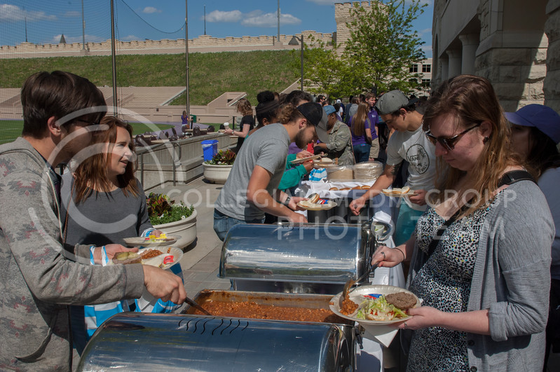 Kansas State University students attend Grab Bash at the KSU Alumni Association in Manhattan, KS on May 4, 2017. Grab Bash is a celebration to bid farewell to graduating students that includes food, drinks, and live music. (Justin Wright | The Collegian)