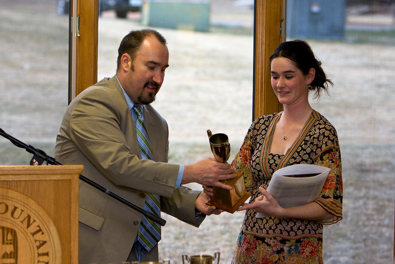Carlie Breen winner of the Deans Cup (Graduating class 2008) receives the award from Anthony Piltz (Dean).