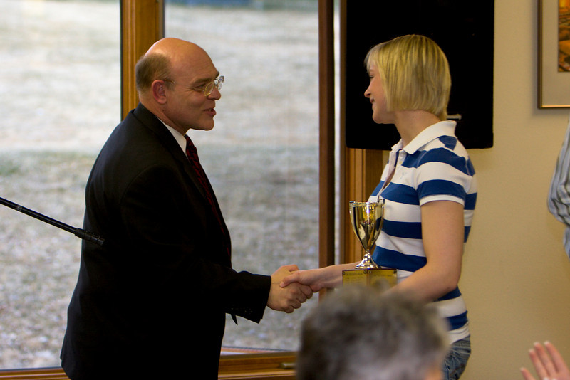 President Michael Mace congratulates Nichole Ruske on winning the Presidents Cup (Graduating class 2008)