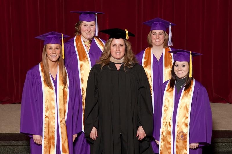 CT Recipients: <br>(front row L-R) Lauren Brentnall, Catherine Eberhart (Instructor), Stephanie Moore. <br>(back row) Megan Hayes, Amanda Rocha