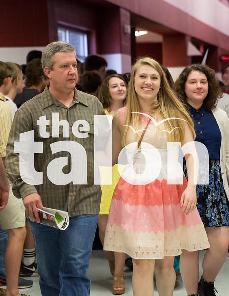 The seniors partake in multiple events like the senior breakfast, walk-through, slideshow, clap-out, and rose ceremony at Argyle High School on June 2, 2015. (Photo by Annabel Thorpe/ The Talon News)