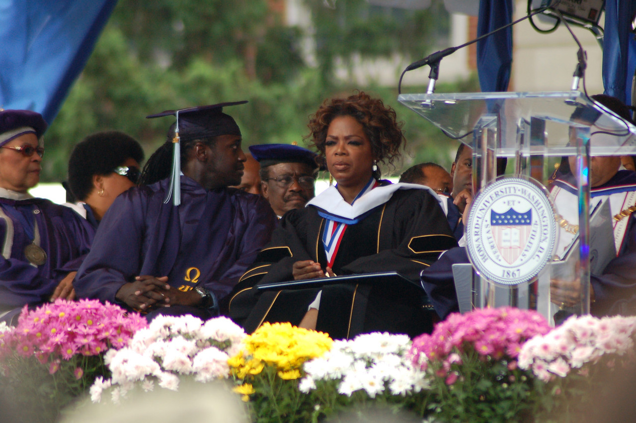 Just to the left of Oprah you can see James E. Silcott, Howard U. trustee and mentor to Jaaye.  <br /> <br /> Photo by Isidra Person-Lynn