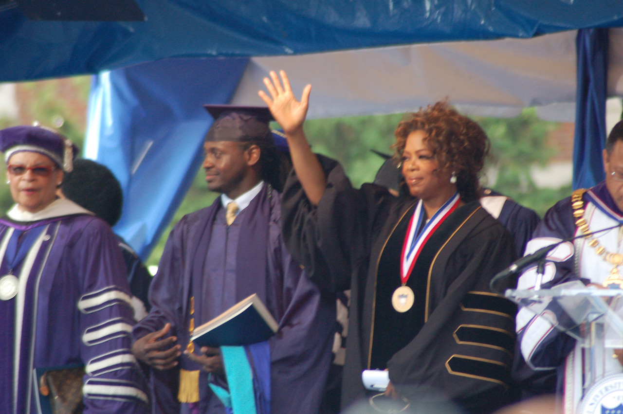 "Oprah Winfrey  received an honorary doctorate (Does this make her Jaaye's classmate?)   She was the ""Oratrix"" (keynote speaker). I will post her comments on my podcast soon.  I had to stand up on a chair to get these! <br /> <br /> Photo by Isidra Person-Lynn"