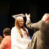 140628 JOED VIERA/STAFF PHOTOGRAPHER-Buffalo, NY-Newfane Principal Thomas Stack flips graduate Gabrielle Burns' tassle during Newfane's graduation ceremony at UB's Center for the Arts. June 28, 2014