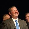 140628 JOED VIERA/STAFF PHOTOGRAPHER-Buffalo, NY-Newfane Principal Thomas Stack smiles at Newfane's graduation at UB's Center for the Arts. June 28, 2014
