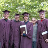 Julie Obermiller/contributor-Nicholas Bearce, Derek Potter, Jeff Thuman, Brett Potter (of the Class of 2018) and Ted Andrews III enjoy a lighthearted moment at Barker High School's commencement exercises for the Class of 2014 early Saturday.