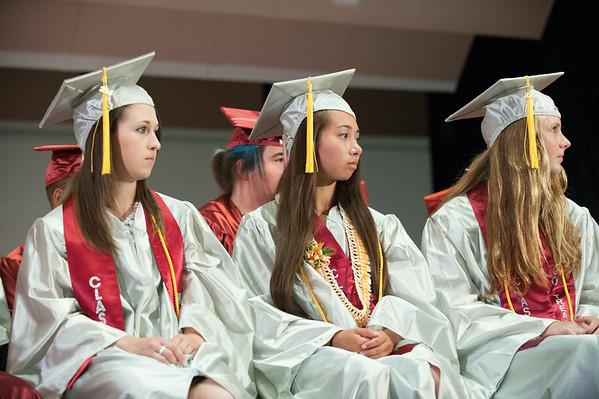 140627 JOED VIERA/STAFF PHOTOGRAPHER-Pendleton, NY-Starpoint graduates listen to the Valedictorian speech at her graduation. June 27, 2014