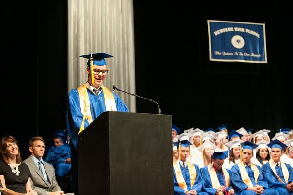 140628 JOED VIERA/STAFF PHOTOGRAPHER-Buffalo, NY-Newfane Valedictorian Daniel Gysbers makes his speech at UB's Center for the Arts. June 28, 2014