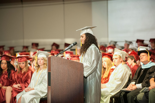 140627 JOED VIERA/STAFF PHOTOGRAPHER-Pendleton, NY-Starpoint Salutatorian Elisabeth Winston  delivers her speech at her graduation ceremony. June 27, 2014