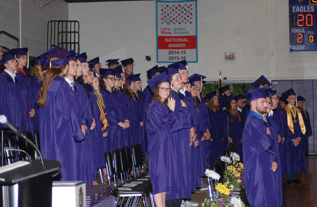 Spencer Tulis/Finger Lakes Times<br /> Clyde-Savannah Central School Dirstrict held its 51st annual Commencement Ceremony Friday in the school auditorium after wet weather pushed the event indoors.
