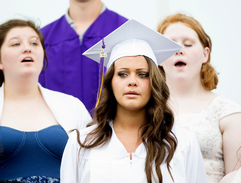 Caroline Morris sings the National Anthem as Upper Moreland High School holds its graduation ceremony for the Class of 2015 on Monday, June 8, 2015. Amanda Nolan - For Montgomery Media
