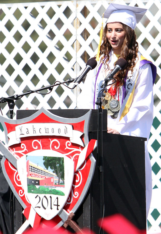 . Valedictorian Sarah Paset gives a speach during Lakewood High School\'s commencement Thursday at Veterans Memorial Stadium in Long Beach, CA Thursday, June 12, 2014. (Photo by Mark Dustin for the Press-Telegram)