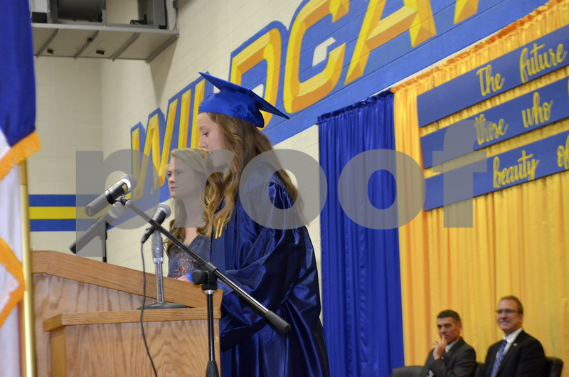 Messenger photo by Bill Shea<br />  Katheryn Curran, the president of the Class of 2017 at Humboldt High School, addresses her classmates Sunday afternoon during the school's graduation ceremony. Cassondra Peyton, the president of the Class of 2018, listens at left.