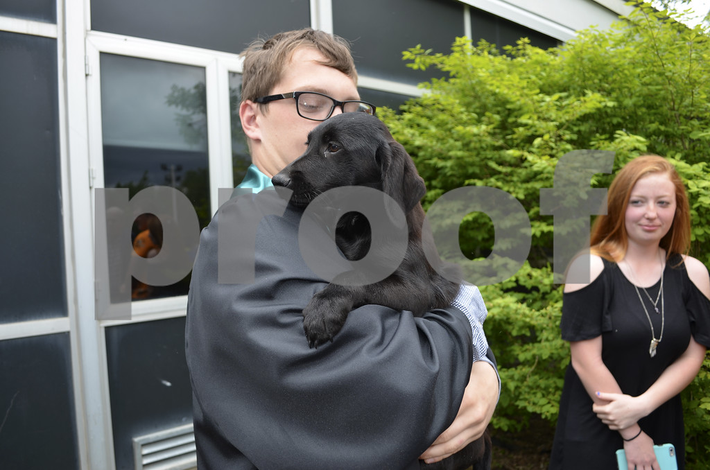 - Messenger photo by Kriss Nelson<br />  Kaelan Lundberg and his new puppy Bo celebrate Lundberg's recent graduation from Southeast Valley High School in Gowrie on Sunday.