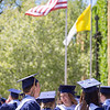 Special to the Record-Eagle/Tessa Lighty<br /> AJ Flannery laughs with her classmates before the Traverse City St. Francis High School Commencement Ceremony on Sunday, June 2, 2019.