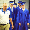 Will Fehlinger | The Herald-Tribune<br /> Batesville High School associate principal (from left) and baseball coach Justin Tucker leads Kyle Siefert, Sam Wade, Joseph Bohman and Jayden Beal into a special graduation ceremony Friday, June 1, at 10 a.m. The baseball players had to miss Saturday's event to play in the Evansville regional.