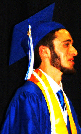 "Debbie Blank | The Herald-Tribune<br /> Salutatorian Benjamin Craft said, ""I want to thank everyone who has helped the graduates sitting here today accomplish their high school goals. To parents, thank you for everything you have done. You are the backbone of every child's education. As evidenced by today, your constant work, support and dedication toward your children have finally paid off …. To the teachers, thank you for dealing with our antics while we were young and dumb underclassmen. I only hope we made up for it by maturing in front of your eyes."""