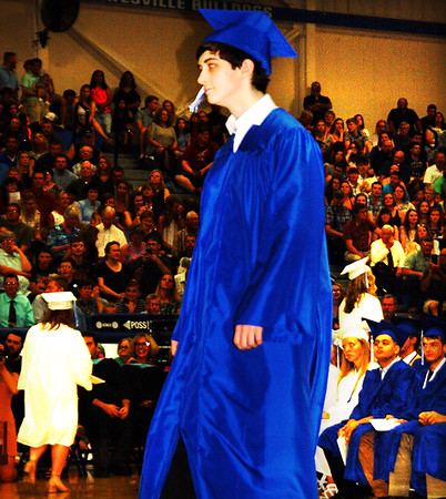 Debbie Blank | The Herald-Tribune<br /> Lily Abplanalp was the first and Zachary Zins (pictured) was the last of the 184 Batesville High School seniors to get their diplomas.
