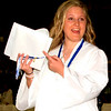 "Debbie Blank | The Herald-Tribune<br /> ""Look -- I did it!"" is the feeling of  new graduate Kyla Ball as she left the gym."