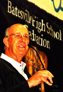 "Debbie Blank | The Herald-Tribune<br /> Class of 1969 spokesman John Waechter reminisced that Batesville was ""a great community that nurtured us to adulthood."" Classmates attended their senior year in the building although it wasn't completely finished and still had scaffolding in the halls."