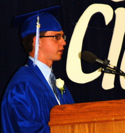 "Debbie Blank | The Herald-Tribune<br /> IN CLOSING COMMENTS, senior class President Trent Barnett described the Class of 2014 as adroit, which he defined as ""very able or skilled."""