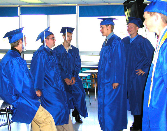 Debbie Blank | The Herald-Tribune<br /> SENIORS waited in classrooms until the 11 a.m. commencement start arrived.