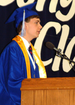 "Debbie Blank | The Herald-Tribune<br /> VALEDICTORIAN LEO GIESEY advised his classmates, ""Always live your life like a mighty Bulldog, aware of the chance of failure, but never scared of it, determined to make your life what you want it to be, and ready to shred any obstacles that get in your way."""
